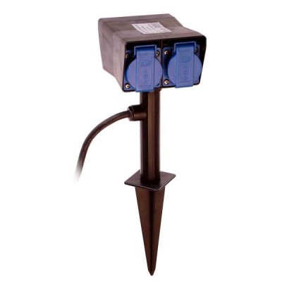 4x garden outlet with ground spike, exterior socket IP44